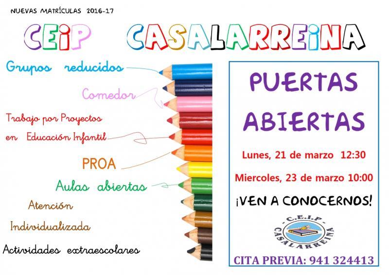 """""""Jornadas de Puertas Abiertas"""" en el Colegio de Casalarreina"""