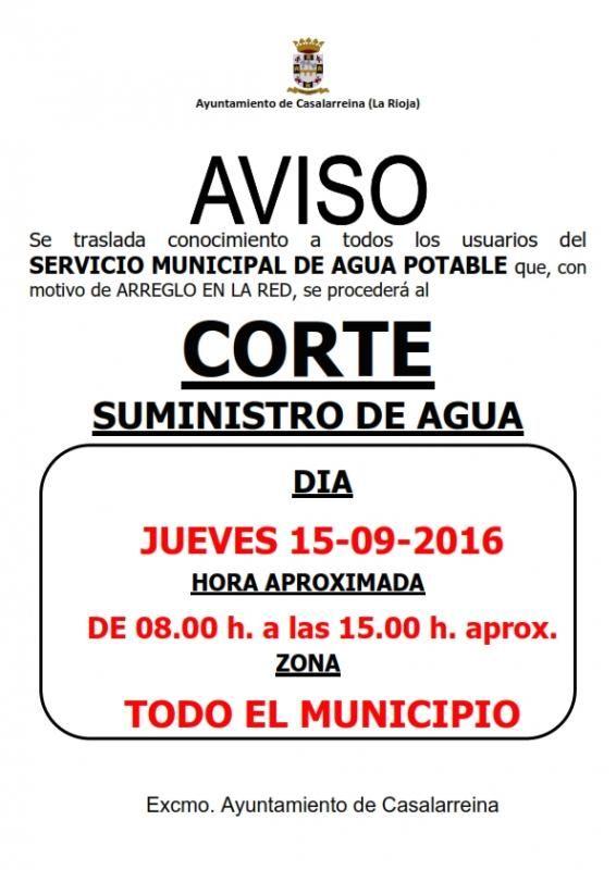 CORTE DE AGUA: Jueves de 8:00 a 15:00 aprox.