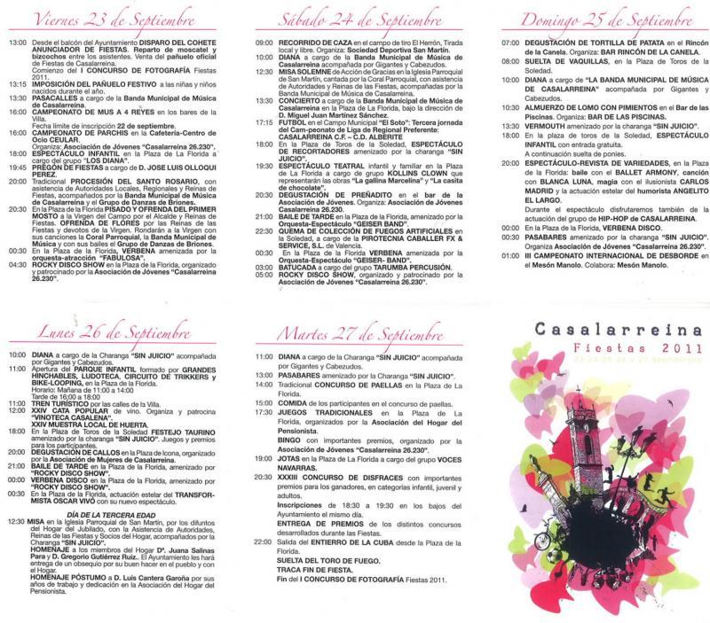 Programa Oficial de Fiestas 2011