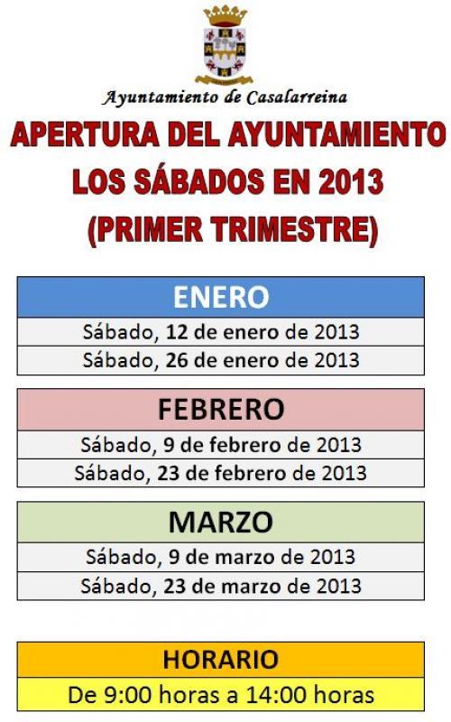 Apertura del Ayuntamiento los sábados 2013 (enero, febrero y marzo)