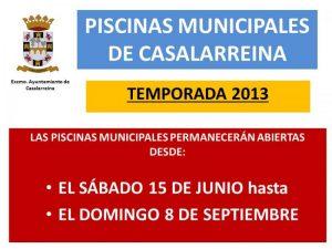 Apertura de las Piscinas, temporada 2013