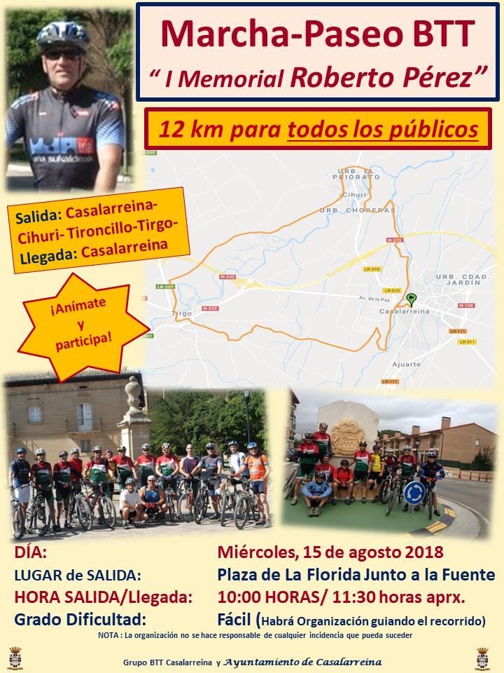 """Marcha/Paseo BTT """"I MemorialRoberto Perez"""" (12 km para todos los públicos)"""