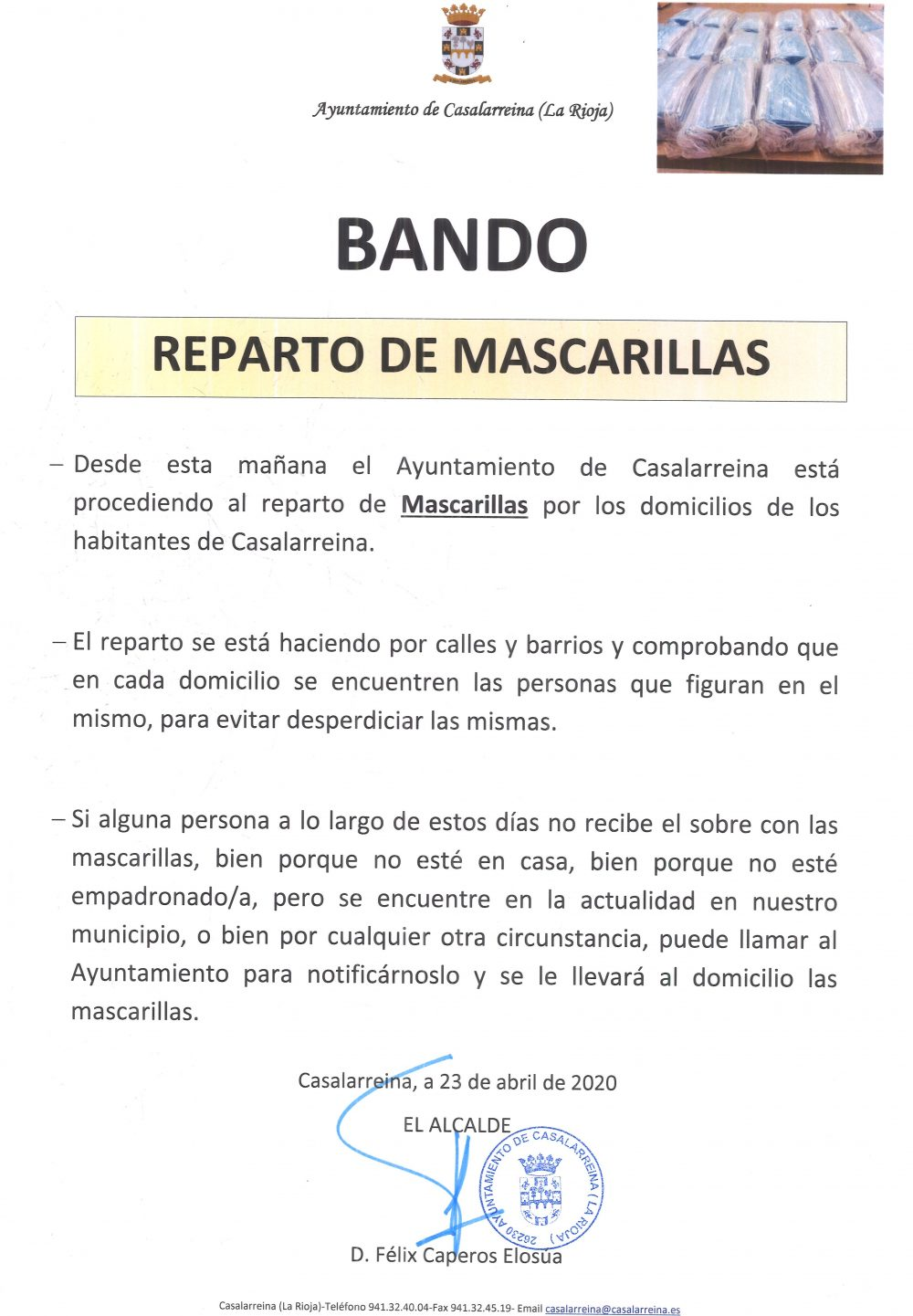 Reparto de Mascarillas