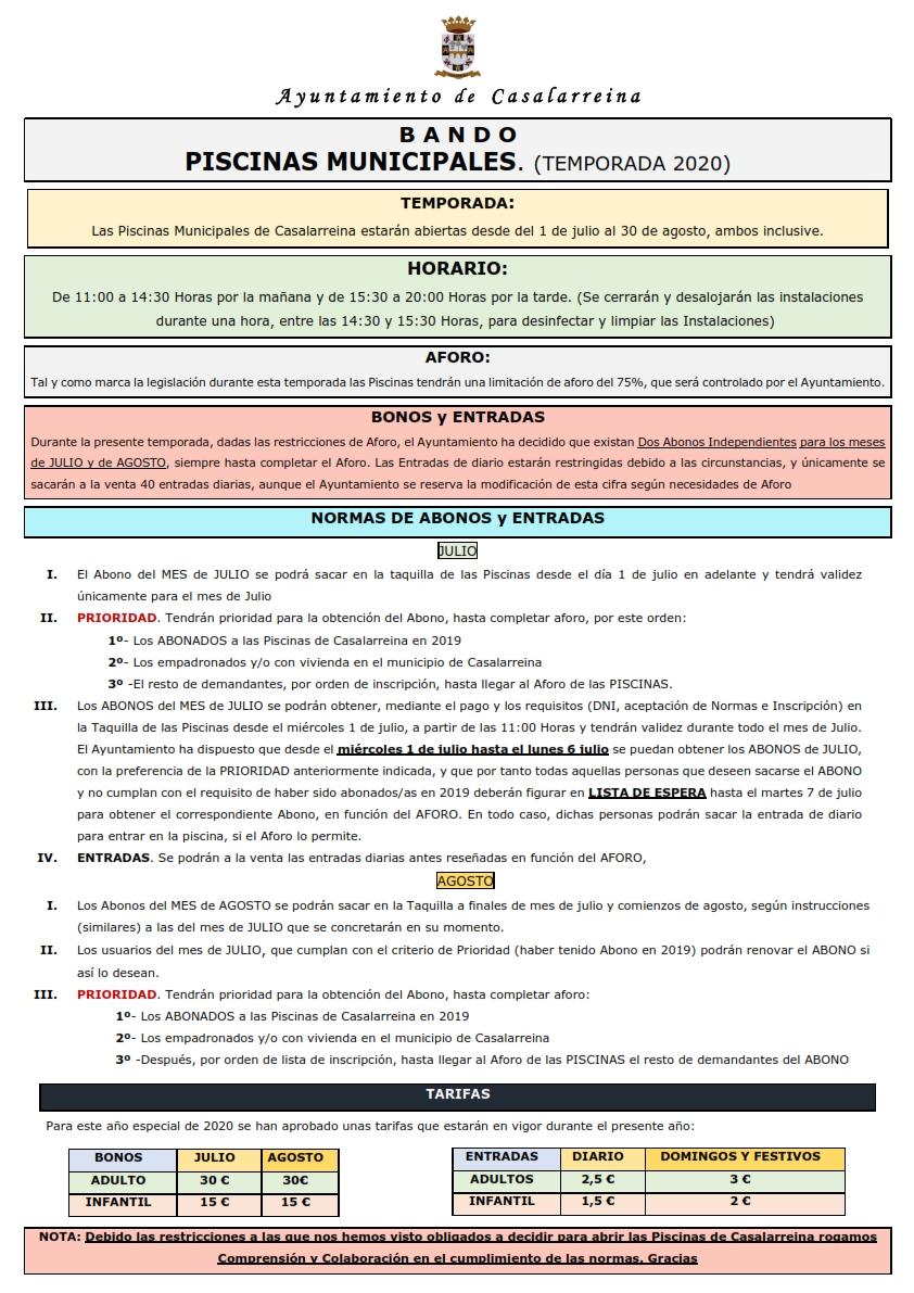 PISCINAS 2020 NORMAS GENERALES