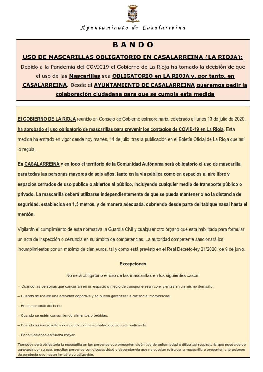 EL USO DE MASCARILLA ES OBLIGATORIO en CASALARREINA y en LA RIOJA