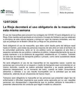 Uso de Mascarilla obligatorio en La Rioja