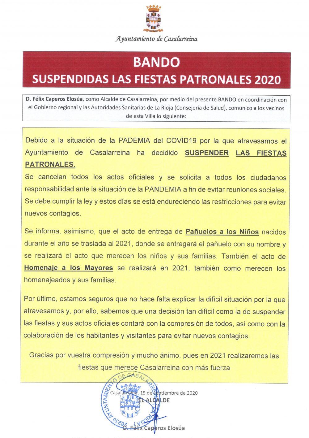 SUSPENSIÓN FIESTAS PATRONALES 2020
