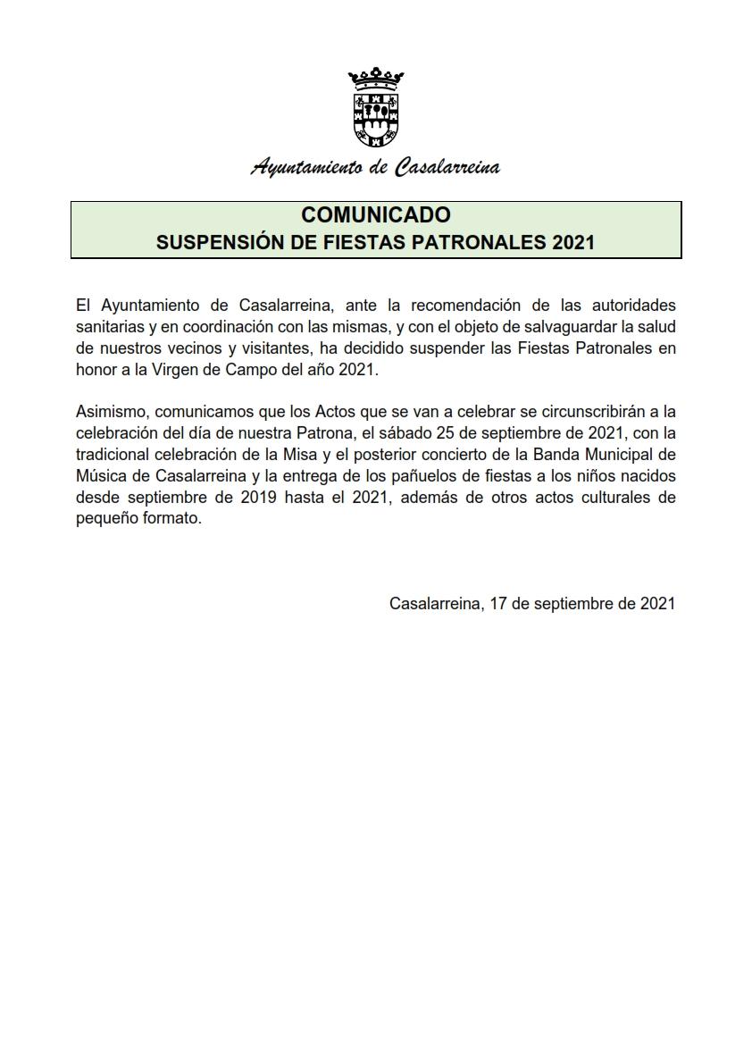 Suspensión Fiestas Patronales 2021